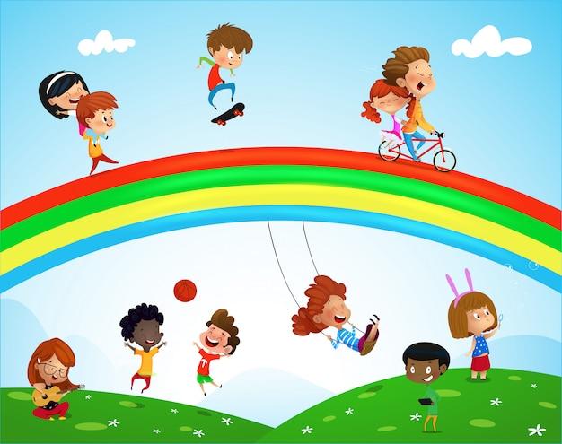 Illustration d'enfants jouant d'ethnies différentes Vecteur Premium
