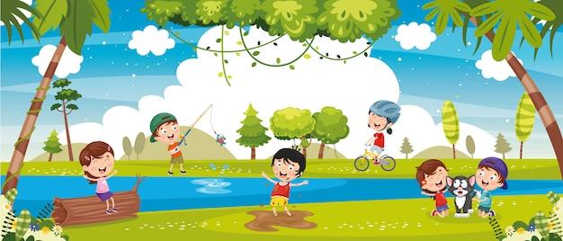Illustration d'enfants jouant à l'extérieur Vecteur Premium