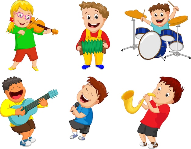 Illustration d'enfants jouant de l'instrument de musique Vecteur Premium