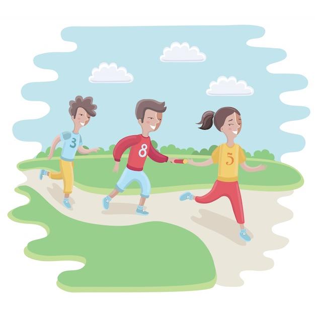 Illustration Des Enfants Participant à Une Course De Relais Vecteur Premium