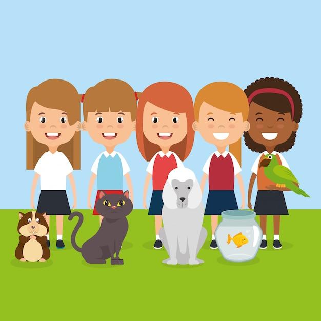 Illustration d'enfants avec des personnages d'animaux domestiques Vecteur gratuit