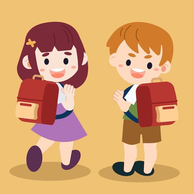 Illustration d'enfants de personnages de dessin animé allant à l'école. Vecteur Premium