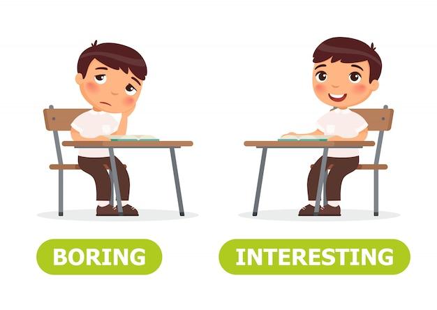 Illustration ennuyeuse et intéressante. Vecteur Premium