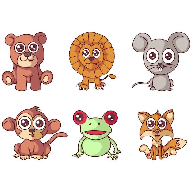 Illustration de l'ensemble des animaux de dessin animé. Vecteur Premium