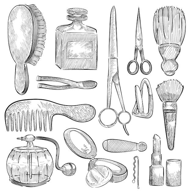 Illustration d'un ensemble d'outils de beauté Vecteur gratuit