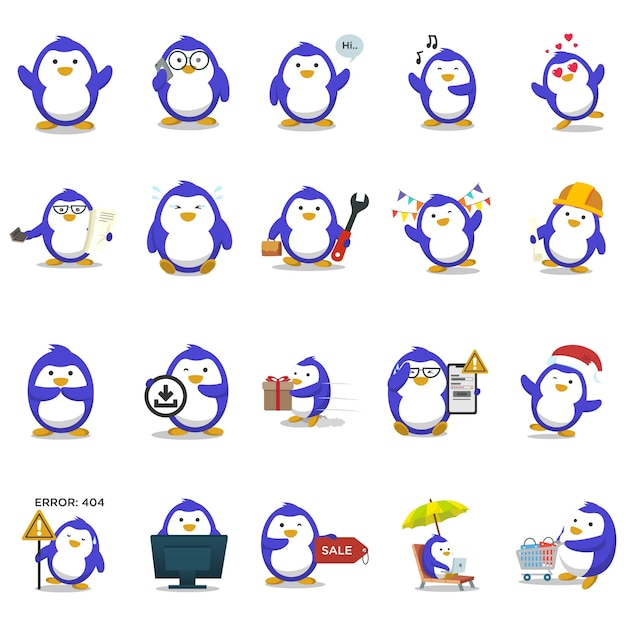Illustration de l'ensemble de pingouin bleu. Vecteur Premium
