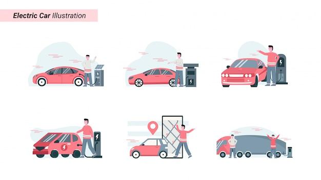 Illustration Ensemble De Quelqu'un Charge Une Voiture électrique Respectueuse De L'environnement Vecteur Premium