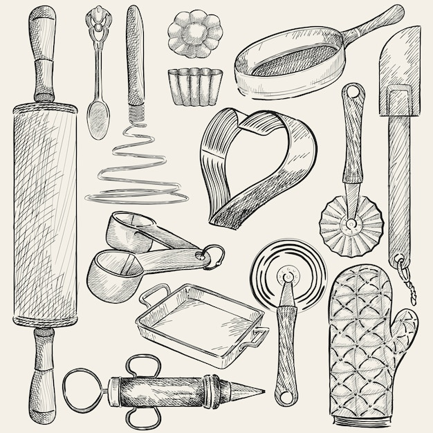 Illustration d'un ensemble d'ustensiles de cuisine Vecteur gratuit