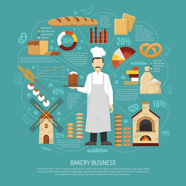 Illustration d'entreprise de boulangerie Vecteur gratuit