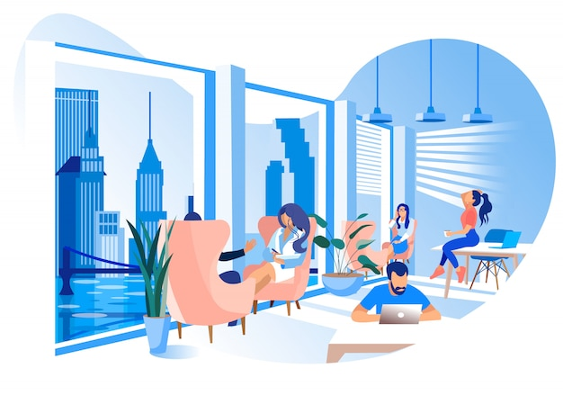 Illustration de l'environnement de travail du bureau de coworking moderne Vecteur Premium