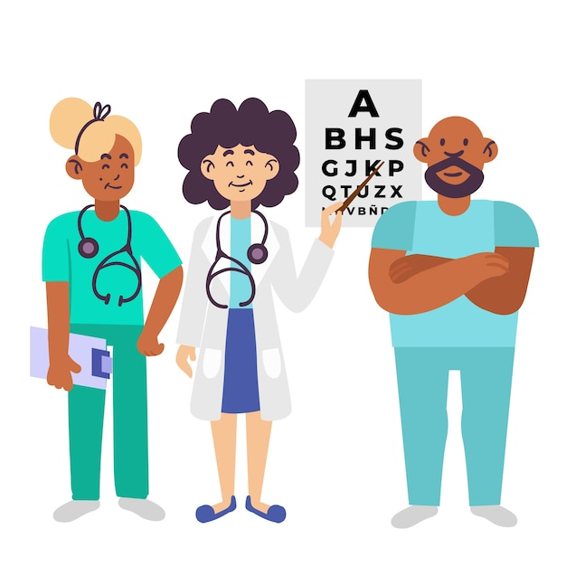 Illustration D'une équipe De Professionnels De La Santé Vecteur gratuit