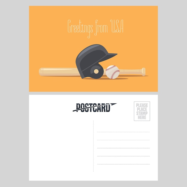 Illustration D'équipement De Baseball Américain. élément Pour Carte Postale Envoyée Des états-unis Pour Voyager En Amérique Avec Une Balle De Baseball Et Une Batte Vecteur Premium