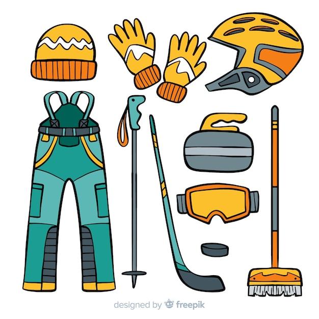 Illustration d'équipement de curling Vecteur gratuit