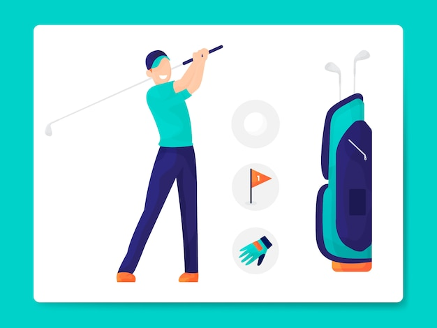 Illustration d'équipement de golf plat moderne Vecteur Premium
