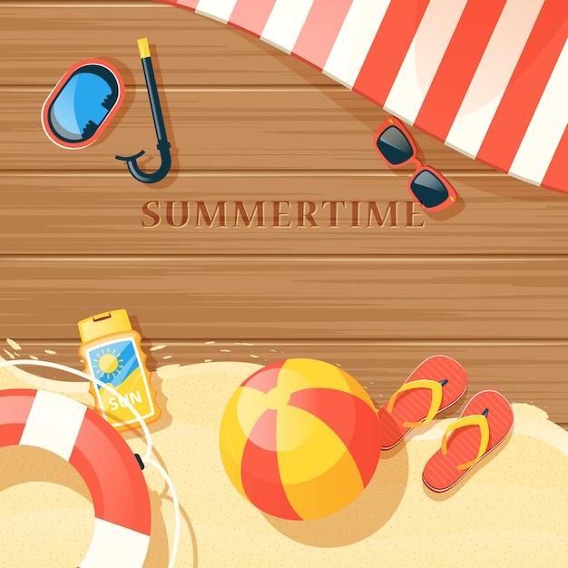 Illustration d'équipement de plage Vecteur gratuit