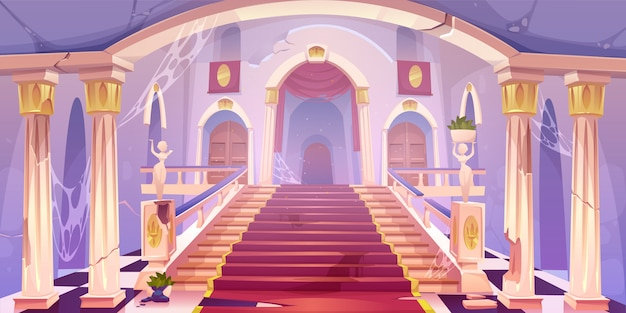 Illustration De L'escalier Du Château Abandonné Vecteur gratuit