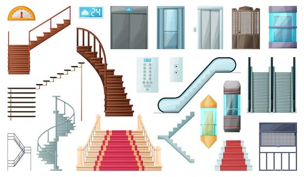 Illustration D'escalier Et Escalator. Icône De Dessin Animé Isolé En Bois D'escalier En Métal Vecteur Premium