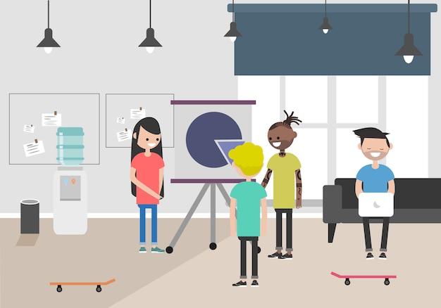 Illustration de l'espace de coworking. lieu de travail, bureau. bureau moderne. millennials au travail. Vecteur Premium