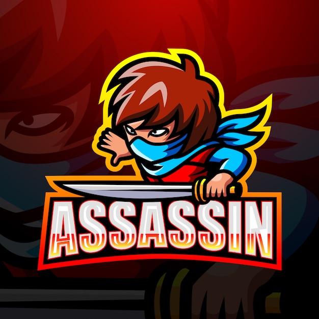Illustration D'esport Mascotte Assassin Vecteur Premium