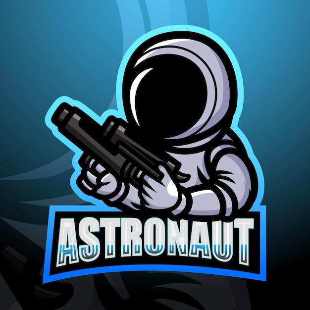 Illustration D'esport Mascotte Astronaute Vecteur Premium