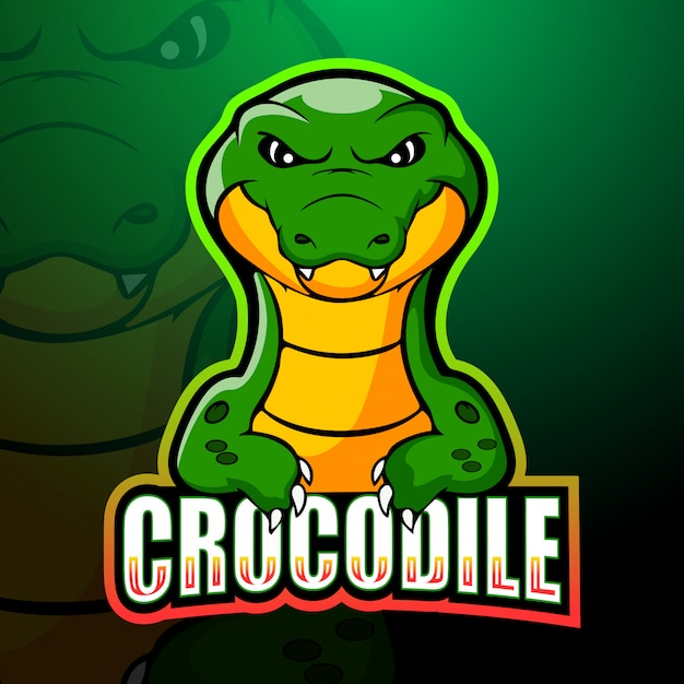Illustration D'esport De Mascotte De Crocodile Vecteur Premium