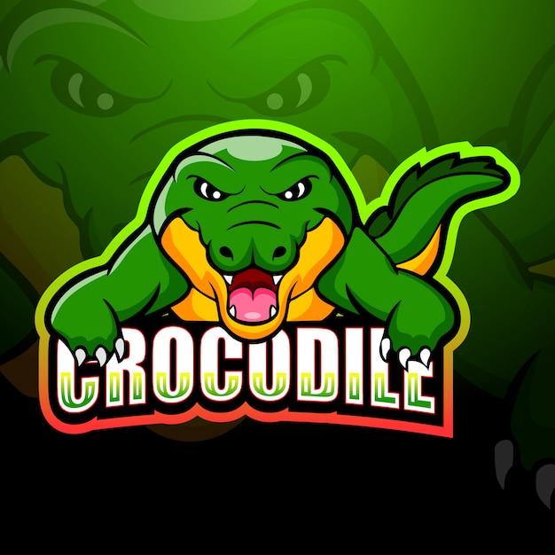 Illustration D'esport De Mascotte De Crocodile Vecteur Premium
