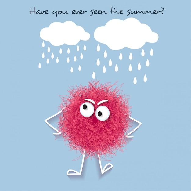 Illustration d'été drôle avec une créature rose moelleuse Vecteur Premium