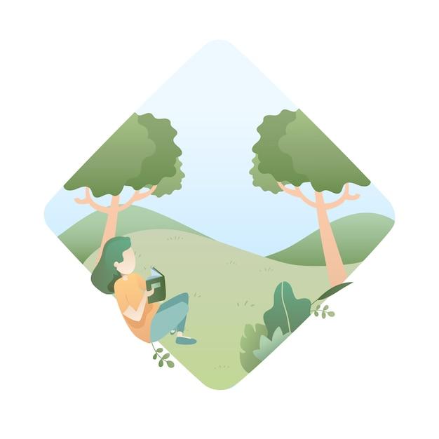 Illustration d'été avec fille lit un livre sous l'arbre Vecteur Premium