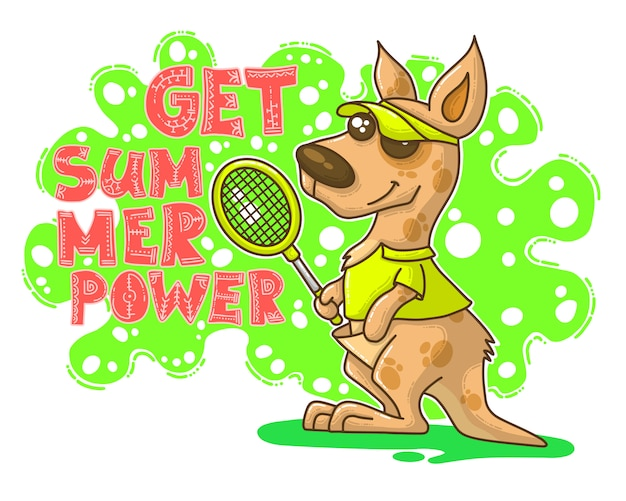 Illustration d'été avec kangourou Vecteur Premium