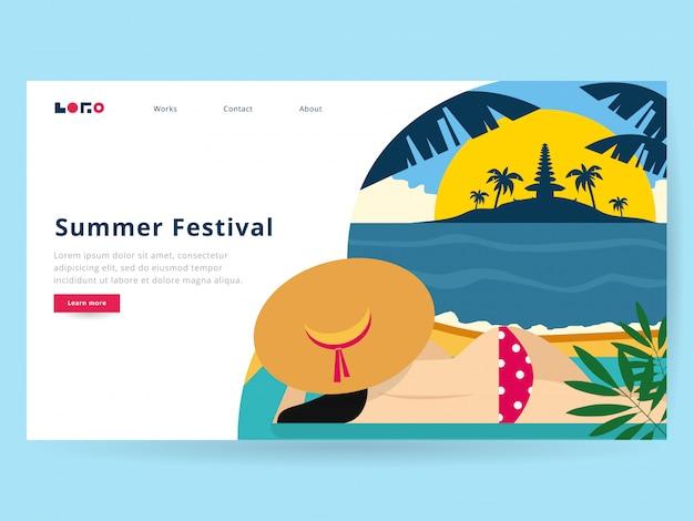Illustration d'été pour la page de destination Vecteur Premium