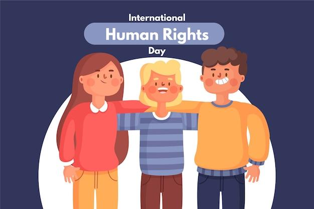 Illustration De L'événement De La Journée Internationale Des Droits De L'homme Design Plat Vecteur gratuit