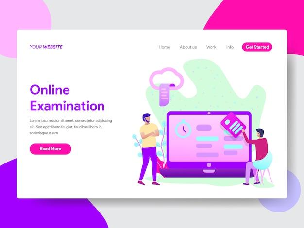 Illustration de l'examen en ligne des étudiants pour les pages web Vecteur Premium