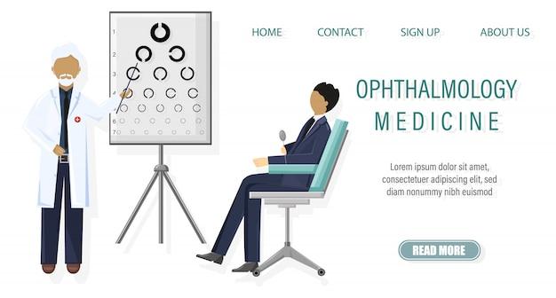 Illustration de l'examen ophtalmologique du patient Vecteur Premium