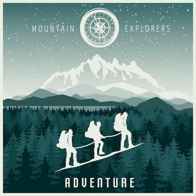 Illustration Des Explorateurs De Montagne Vecteur gratuit