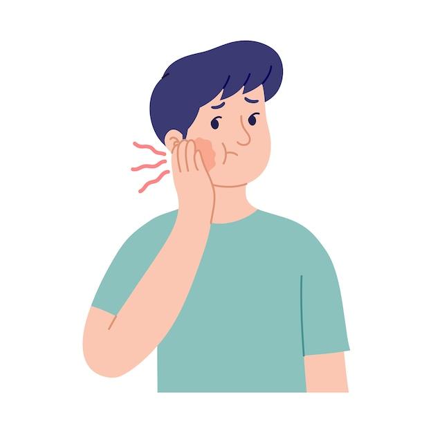 Illustration De L'expression D'un Jeune Homme Aux Joues Gonflées En Raison De Maux De Dents Vecteur Premium