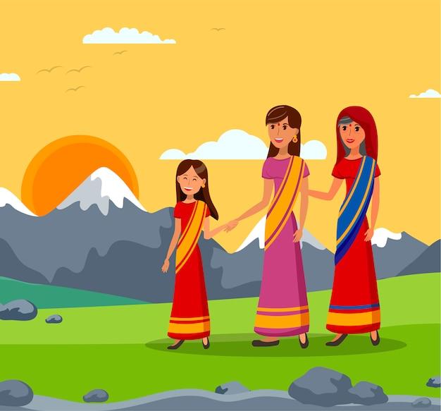 Illustration de la famille indienne Vecteur Premium
