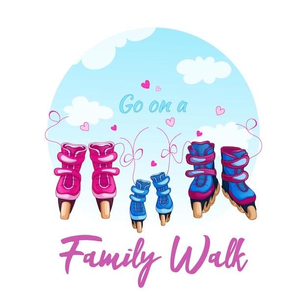 Illustration d'une famille marchant sur des patins à roulettes. Vecteur Premium
