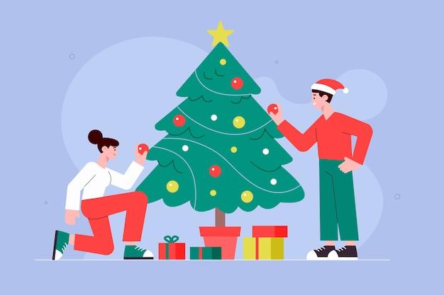 Illustration De Famille De Noël Au Design Plat Vecteur gratuit