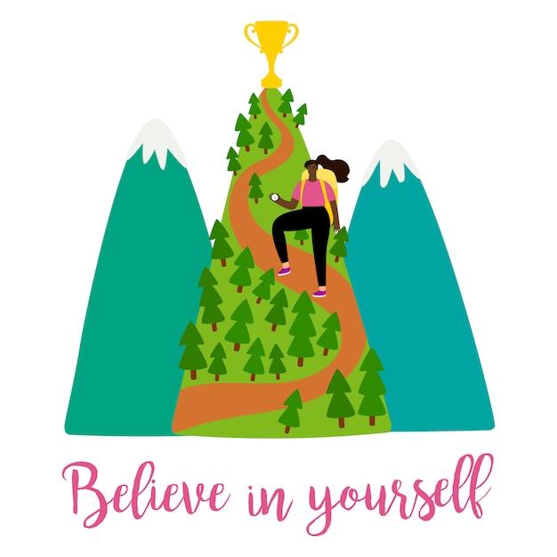 Illustration Féminine De Motivation Positive Avec Fille, Montagnes Et Trophée Sur Le Dessus Vecteur Premium