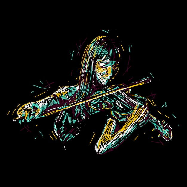 Illustration de femme abstraite violoniste Vecteur Premium
