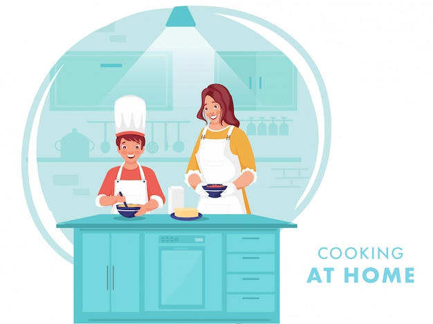 Illustration De Femme Aidant Son Fils à Faire De La Nourriture à La Maison De La Cuisine Pendant Le Coronavirus. Vecteur Premium
