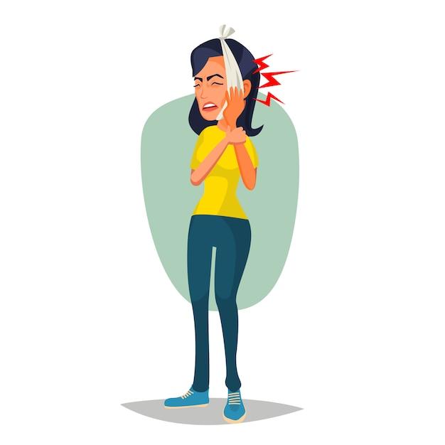 Illustration de femme avec maux de dents Vecteur Premium