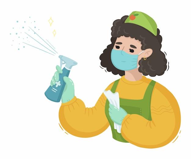 Illustration De Femme De Ménage Avec Désinfectant Contre Le Virus Vecteur Premium