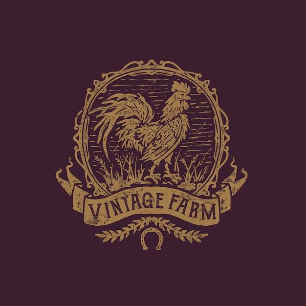 Illustration De Ferme De Coq Dessinés à La Main Vintage Vecteur Premium