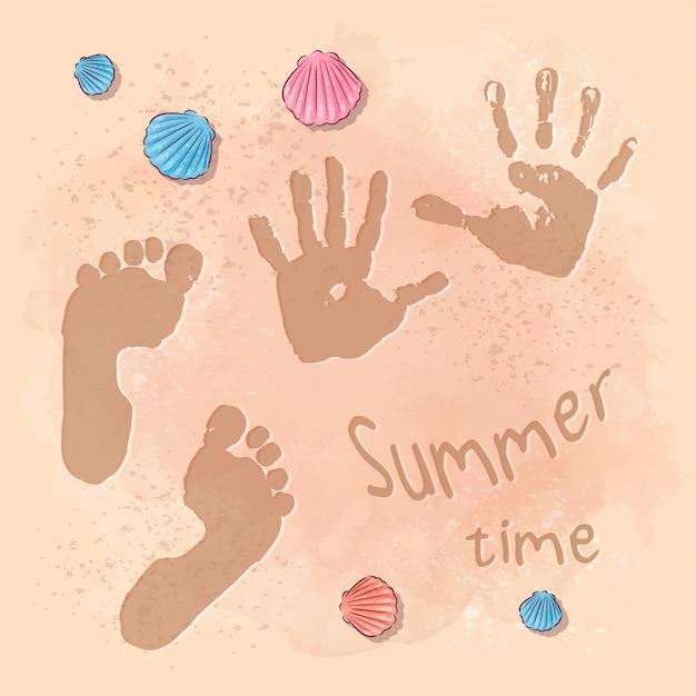 Illustration D'une Fête D'été à La Plage Avec Empreintes De Pas Sur Le Sable Vecteur Premium
