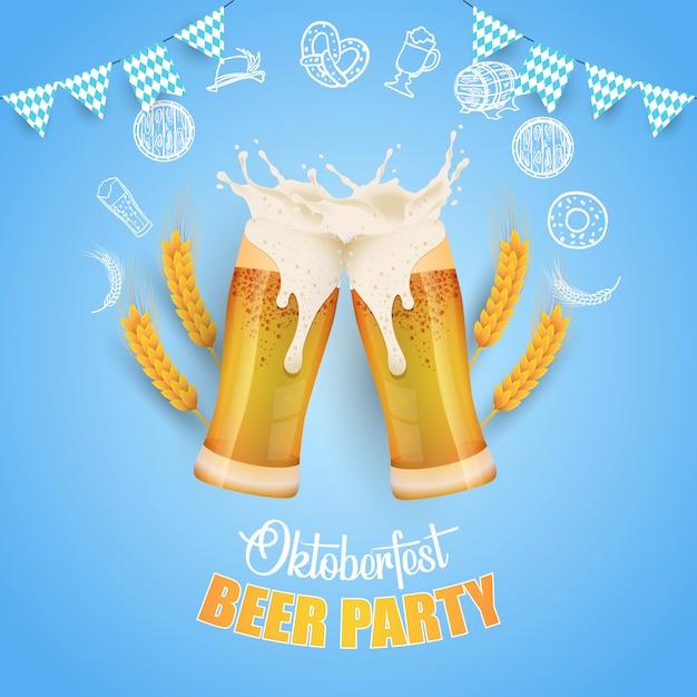 Illustration de la fête oktoberfest avec bière fraîche Vecteur Premium