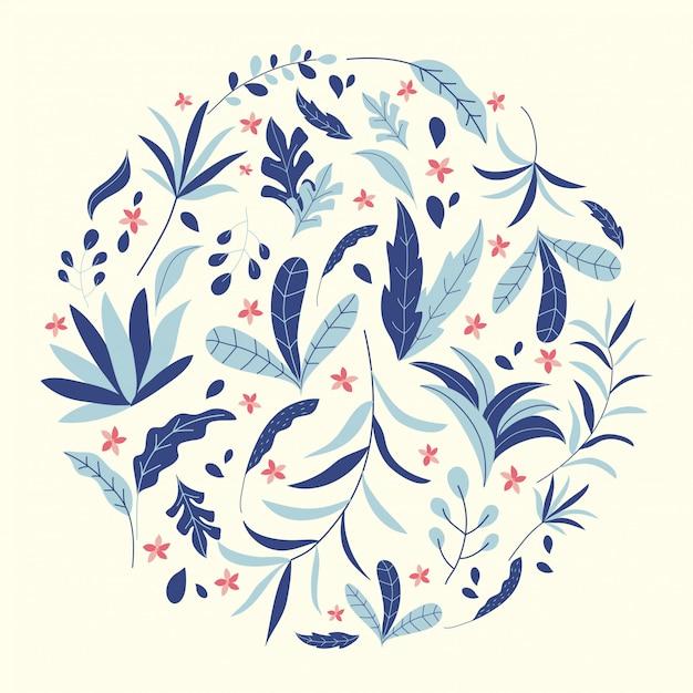 Illustration De Feuilles Et De Fleurs De La Jungle Tropicale Vecteur Premium