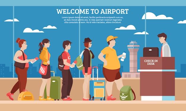 Illustration de la file d'attente de l'aéroport Vecteur gratuit