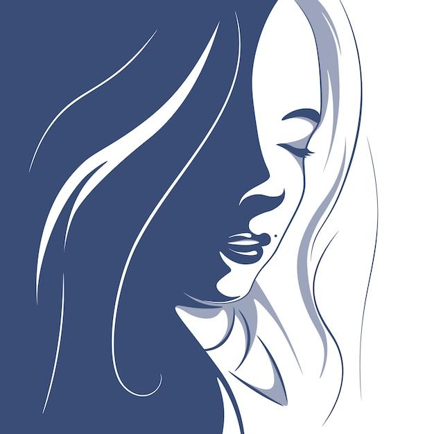 Illustration d'une fille aux cheveux bouclés Vecteur Premium