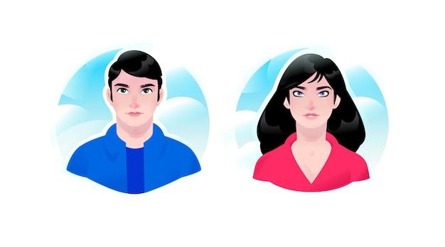 Illustration D'une Fille Et Un Avatars De Gars. Couple D'homme Et De Femme. Deux Portraits D'homme D'affaires. Vecteur Premium